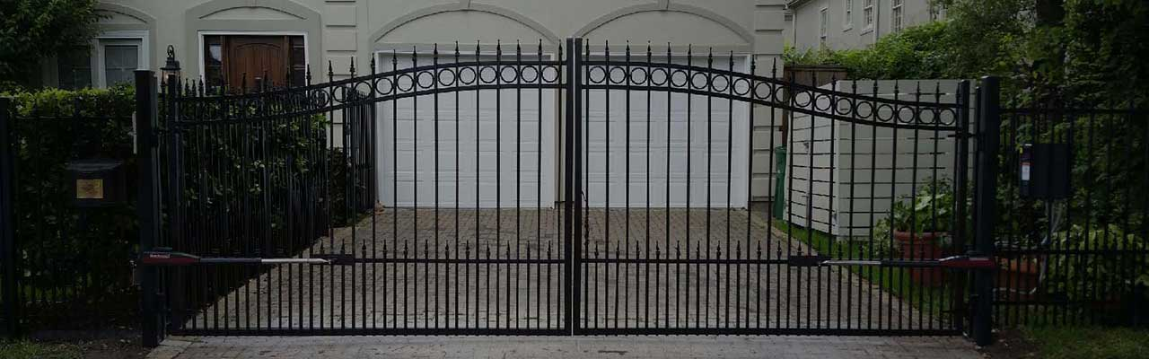 Garage door and driveway fence gate in Houston Texas.